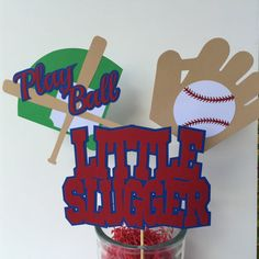 Baseball Theme Centerpiece Sticks - Set of 3 - 1st Birthday Party - Baseball Theme Baby Shower - Baseball Theme Party - Baseball Theme