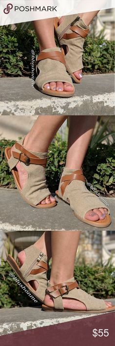 Strappy Buckle Boho Sandals @blushonme at Poshmark  Featuring a boho sandals look. I love the design and comfort. It's a slip on with inner side zipper closure. Soft leather straps and buckle detailed. Man-made canvas material.  Runs small: Modeling a 7, my normal size is a 6.  🏷️ Price is Firm  🛒 To Buy: Click on the Buy Now button or the Add To Bundle tab for multiple purchases 🙂🌷 Shoes Sandals
