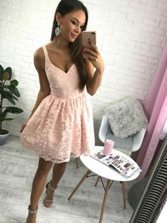 Hot Sale Easy Simple Homecoming Dresses Short Cheap Simple V Neck Blush Pink Lace Homecoming Dresses Dress For You, Vintage Homecoming Dresses, Backless Homecoming Dresses, Graduation Dresses, Dresses Short, Dresses For Teens, Dance Dresses, Formal Dresses, Mini Dresses