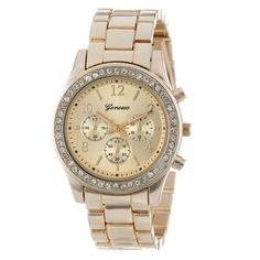New Watch 2016 Faux Chronograph Quartz Plated Classic Round Ladies Women  Crystals Watches Free Shipping Ladies fa346a09f43a