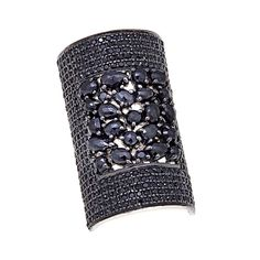 Rarities Fine Jewelry with Carol Brodie Rarities: Fine Jewelry with Carol Brodie Black Rhodium Sterling Silver Gemstone Wide Band Ring