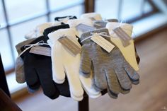 Winter wedding glove favors with tags by Bella Joviality Stationery