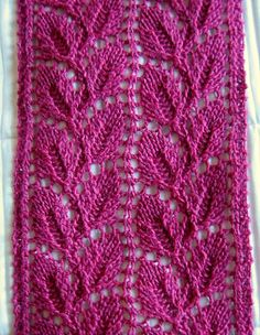Liesel Lace Leaf Scarf - free pattern new page for patterns is:  http://yummyyarn.indus3ous.com/patterns.html