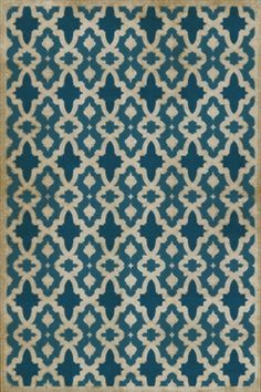 """The Pattern 31 """"The Blue Mosque"""" Vintage Vinyl Floor cloth offers an alternative to traditional rugs with an intricate, retro-inspired design in blue and white. This easy-to-clean mat delivers a modern statement to kitchens, bathrooms, and covered outdoor Vinyl Floor Mat, Vinyl Flooring, Kitchen Flooring, Floor Mats, Linoleum Flooring, Kitchen Mat, Blue Mosque, Floor Cloth, Warm Colors"""