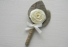 With real pink & cream flowers & burlap boutonniere + grey ribbon under the rose...simply elegant and perfect