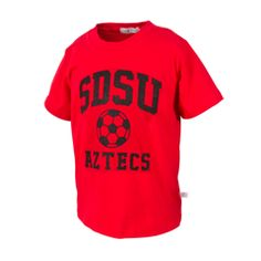 SDSU soccer tee featuring an athletic cut and a ribbed collar. $15