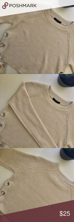 cute cream crop sweater with side laces cute cream crop top sweater with side laces                                                                         women's medium                                                                                                                    excellent condition Sweaters Crew & Scoop Necks