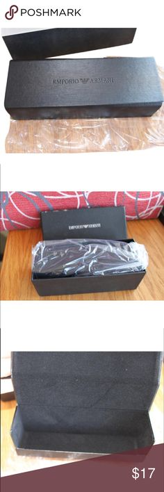 Emporio Armani Glasses Case with Box The is only the sunglass or eyeglass case no sunglasses are included. The outside Armani box is a little scuffed but the sunglasses holder is in perfect condition. Emporio Armani Accessories Sunglasses