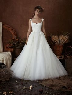 Chloe by Isabelle Armstrong Spring 2018 tulle ball gown cap sleeve scooped notch neckline, overskirt