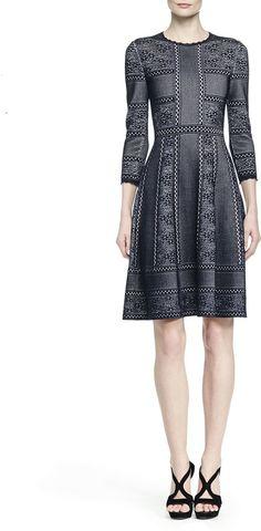 Alexander McQueen Mixed-Print Full-Skirt Dress