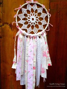 Dream Catcher Pink Vintage Lace Floral Rag Ties Pink Dreamcatcher Bohemian Spirit Doily Garland by Seacliffe Cottage    *** Holiday Shipping