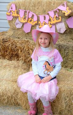 Audrey's Cowgirl/Western/Horse themed 5th Birthday party! LOVE the banner and the stick horse activity