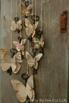 My New Old Life: Mademoiselles des ideès: Tutorial Chiavi Alate - Paper Bag Diy And Crafts, Crafts For Kids, Arts And Crafts, New Crafts, Paper Butterflies, Paper Flowers, Diy Paper, Paper Art, Diy Wings
