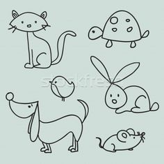 Cat, turtle, bird, bunny, dog and mouse