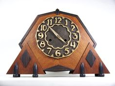 Amsterdamse School Pendule met Junghans Pfeilkruz uurwerk