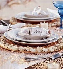Tabletop Decorating Beach Style with Placecards I Display Names in tiny glass bottles