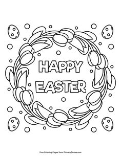 Free printable Easter Coloring Pages eBook for use in your classroom or home from PrimaryGames. Print and color this Happy Easter coloring page.