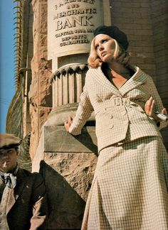 Theadora van Runkle designed iconic  wardrobe in, 'Bonnie & Clyde', 1967.