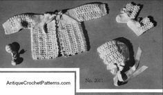 Crochet Baby Set - Agda Baby Set - free crochet patterns for a sweater, bonnet, and booties for an infant