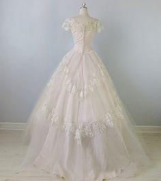 1950s Wedding Dress / Blush Pink Wedding Dress / Sweet Love