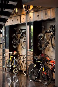 #space #storage #bicycle Garage, ideas, man cave, workshop, organization, organize, home, house, indoor, storage, woodwork, design, tool, mechanic, auto, shelving, car.