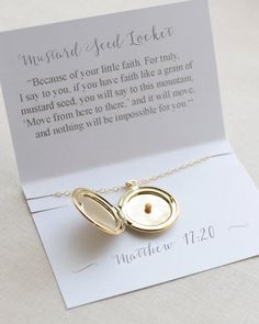 Mustard Seed Locket Necklace with scripture card by Olive Yew. Locket is available in gold, silver or rose gold. Also, add a stamped initial for a personalized gift!