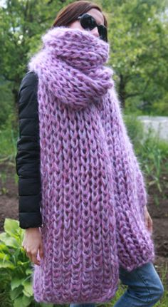 5 strands 1kg Premium Mohair EXTRA LONG SCARF hand knit Pur  Men Women