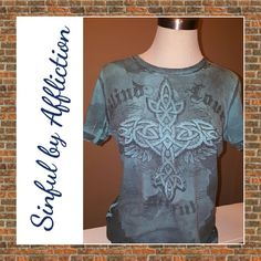 Sinful Tee Gorgeous Sinful by Affliction Tee! Features A C?ltico style cross on the front, and Blue tones in cloud cover! Wings grace the shoulder blades for an edgy, distressed country/rocker chic look. Sinful Tops Tees - Short Sleeve