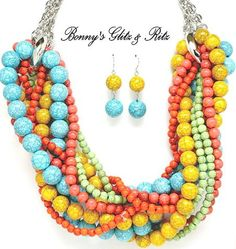yellow, aqua, coral and mint braided necklace