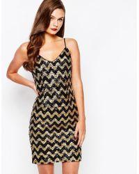 fc9d84f93f21 New Look - Sequin Zig Zag Cami Dress - Lyst Xmas Party Dresses, Holiday  Dresses