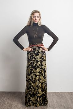 Birds of Prey Maxi Skirt in Gold on Black  One of our newest designs for Fall/Winter 2015 is our Birds of Prey print. It features a variety of