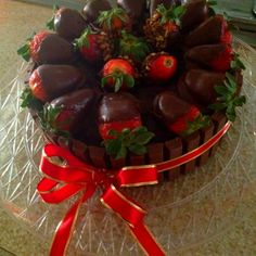 Kit Kat Bars and Chocolate Covered Strawberry Cake :)