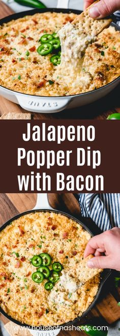 Mar 2019 - This creamy, cheesy Jalapeno Popper Dip with Bacon is the ultimate appetizer indulgence! So warm and comforting and perfect for parties! Bacon Appetizers, Easy Appetizer Recipes, Appetizer Dips, Appetizers For Party, Party Snacks, Simple Appetizers, Dip Recipes, Jalapeno Popper Dip, Stuffed Jalapenos With Bacon