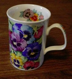 As if my Spring pansies themselves were glued here! Roy Kirkham Fine Bone China Pansy Mug Made in England 1994 EXCLNT   eBay