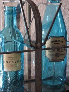 Blue Bottles with vintage labels