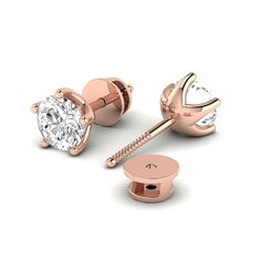 Diamond Earring DGLA Certified Round Brilliant Five Claw Settings Studs Earring