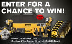 Enter our sweepstakes for a chance towin a DEWALT 20 Volt Max Li-Ion Cordless 5-Tool Combo Kit or 1 of 5 $50 NorthernTool.com gift cards! Share your referral link with friends + earn more entries for yourself if they enter!