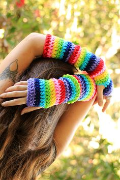 Arm Warmers in Rainbow Stripes by by mademoisellemermaid on Etsy, $35.00