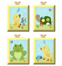 In the Pond ducks Set of 4 Giclee Canvas nursery art for Tiddliwink kids room. $70.00, via Etsy.