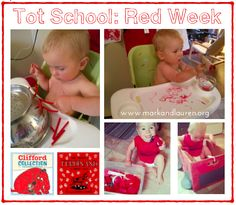 """Tot School: Red Week  First week of """"Tot School"""" for our 20 month year old (1 1/2 year old).  Red activities (paint, dot marker), sensory (pom poms, pipe cleaners, pasta, play-doh), motor skills, crafts, books, etc.  http://markandlauren.org/2014/07/17/tot-school-red-week/  #preschool #toddler #totschool"""
