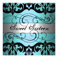 Blue & Silver Damask Sweet 16 Birthday Invitation