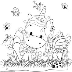 Cute Unicorn 3 Coloring Pages
