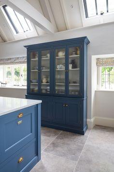 Kitchen Wall Cabinets, Kitchen Furniture, Furniture Making, Kitchen Storage, Furniture Design, Hicks Blue Little Greene, Laundry Room Design, Kitchen Design, Blue China Cabinet