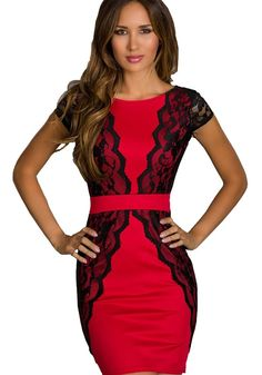 Firecracker Red! Sexy Red and Black Lace Above Knee BodyCon Stretch Party Dress #Sexy #Red_and_Black #Black_Lace #BodyCon #Party_Dress