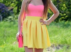 bag, bustier, crop, cute, fashion, girl, girly, idea, look, nice, outfit, pink, pretty, skater, skirt, spring, style, summer, tank, top, yellow