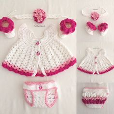 Baby girl pink set baby girl outfit ruffled baby booties baby headband baby shower gift first valentine baby outfit ruffled baby diaper Baby Dress Patterns, Baby Clothes Patterns, Crochet Baby Clothes, Crochet Baby Dress Free Pattern, Baby Outfits, Baby Booties, Baby Headbands, Pink Girl, Baby Shower