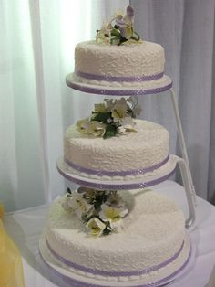2 tier floating wedding cake stand floating tiered wedding cake basket weave design on sides 10131