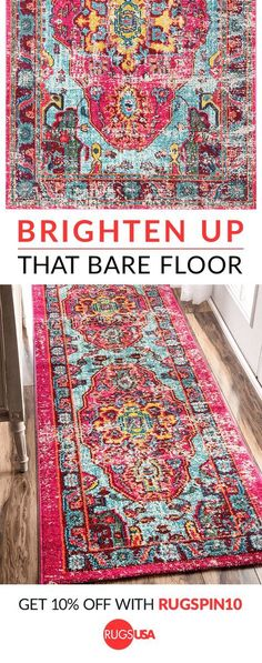 Give your room a hint of personality with a beautiful designer rug. Visit Rugs USA for 1000s of amazing colors, styles + textures -- including animal print, bohemian, braided, coastal, modern, animal hides, jute & sisal, kids, outdoor, shag, southwest, traditional, vintage on a budget! Shop now and get 10% off with code RUGSPIN10 at rugsusa.com