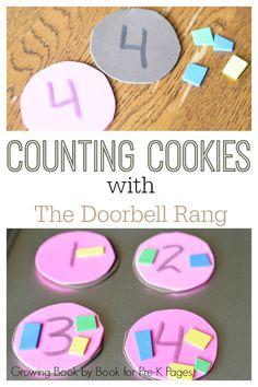 The Doorbell Rang: Counting Cookies Math Center for preschool and kindergarten