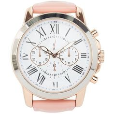 Charlotte Russe Smooth Bezel Colored Bracelet Watch ($21) ❤ liked on Polyvore featuring jewelry, watches, pink combo, chunky watches, white dial watches, roman numeral jewelry, pink jewelry i pink watches